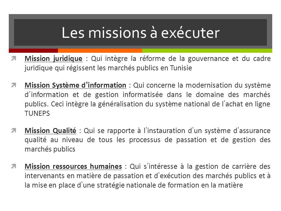 Les missions à exécuter Mission juridique : Qui intègre la réforme de la gouvernance et du cadre juridique qui régissent les marchés publics en Tunisie Mission Système dinformation : Qui concerne la modernisation du système dinformation et de gestion informatisée dans le domaine des marchés publics.