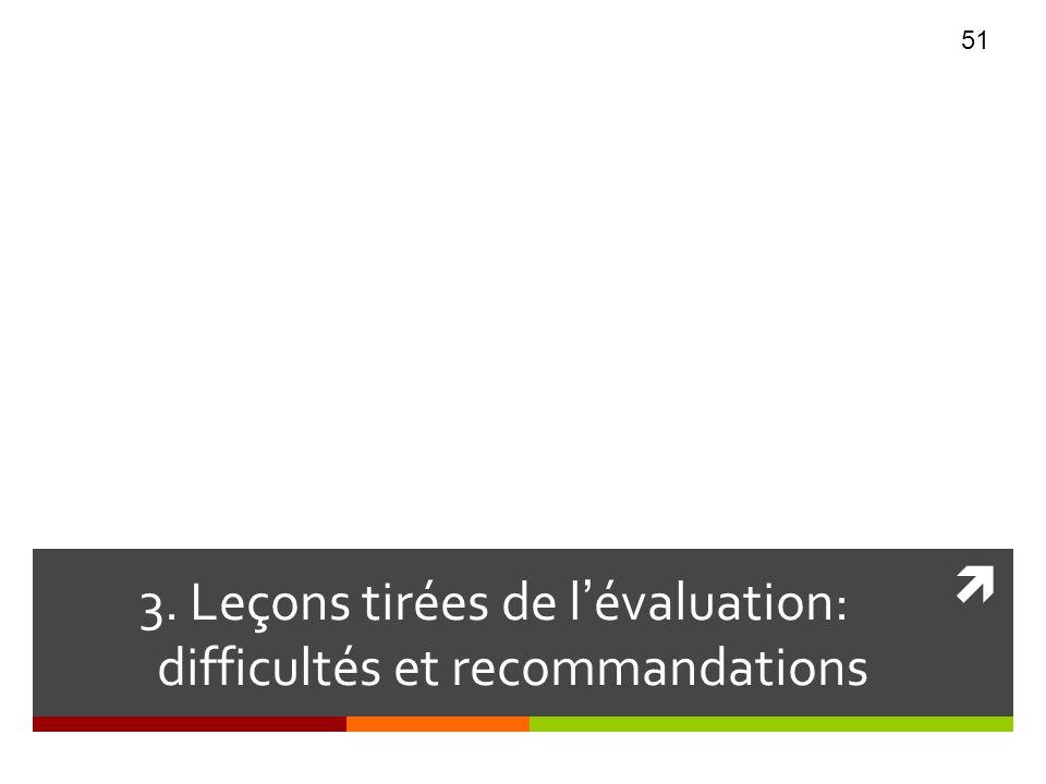 3. Leçons tirées de lévaluation: difficultés et recommandations 51