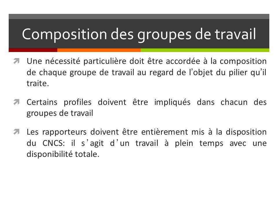 Composition des groupes de travail Une nécessité particulière doit être accordée à la composition de chaque groupe de travail au regard de lobjet du pilier quil traite.