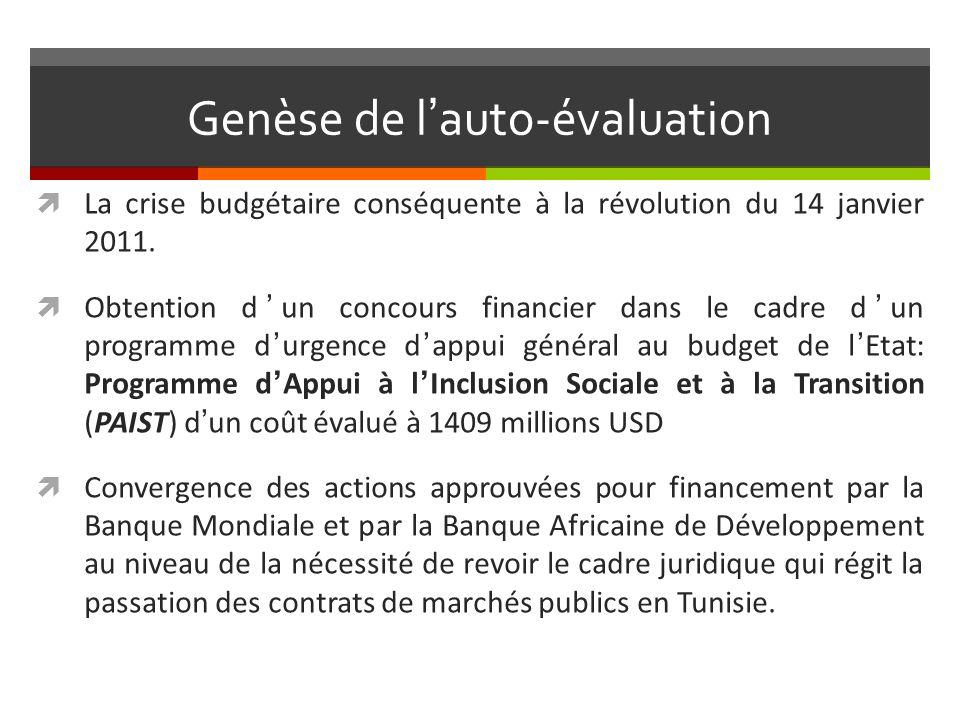 Genèse de lauto-évaluation La crise budgétaire conséquente à la révolution du 14 janvier 2011.