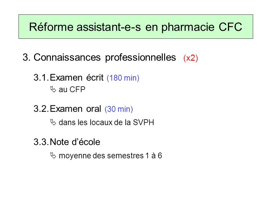 3.Connaissances professionnelles (x2) 3.1.Examen écrit (180 min) au CFP 3.2.Examen oral (30 min) dans les locaux de la SVPH 3.3.Note décole moyenne des semestres 1 à 6 Réforme assistant-e-s en pharmacie CFC