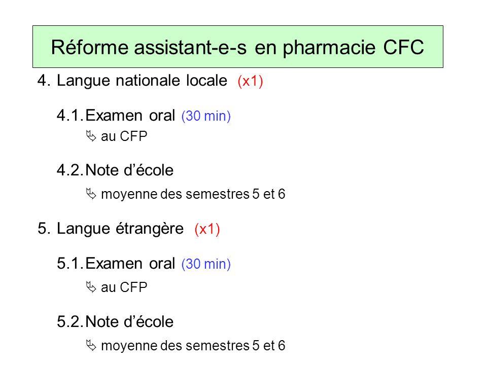 4.Langue nationale locale (x1) 4.1.Examen oral (30 min) au CFP 4.2.Note décole moyenne des semestres 5 et 6 5.Langue étrangère (x1) 5.1.Examen oral (30 min) au CFP 5.2.Note décole moyenne des semestres 5 et 6 Réforme assistant-e-s en pharmacie CFC