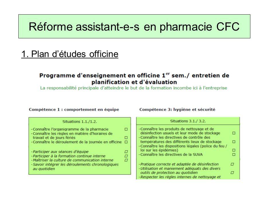 1. Plan détudes officine Réforme assistant-e-s en pharmacie CFC