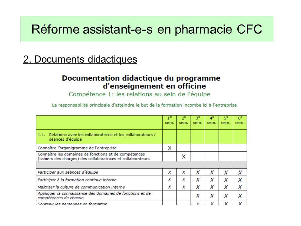 2. Documents didactiques Réforme assistant-e-s en pharmacie CFC