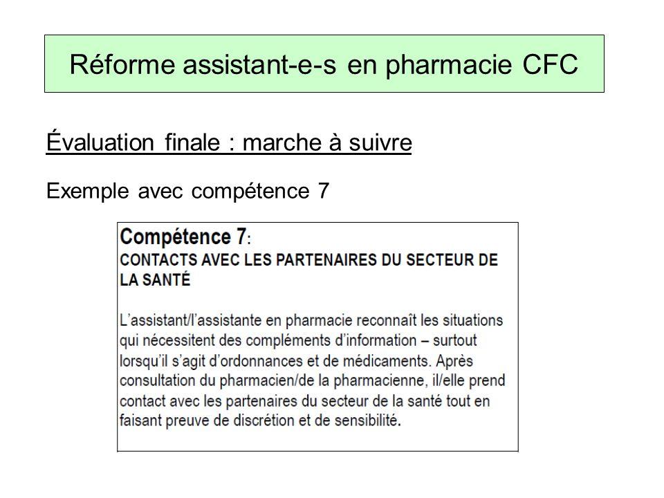 Évaluation finale : marche à suivre Exemple avec compétence 7 Réforme assistant-e-s en pharmacie CFC
