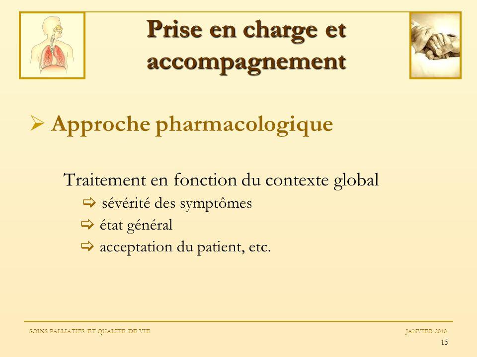 15 Approche pharmacologique Traitement en fonction du contexte global sévérité des symptômes état général acceptation du patient, etc. Prise en charge