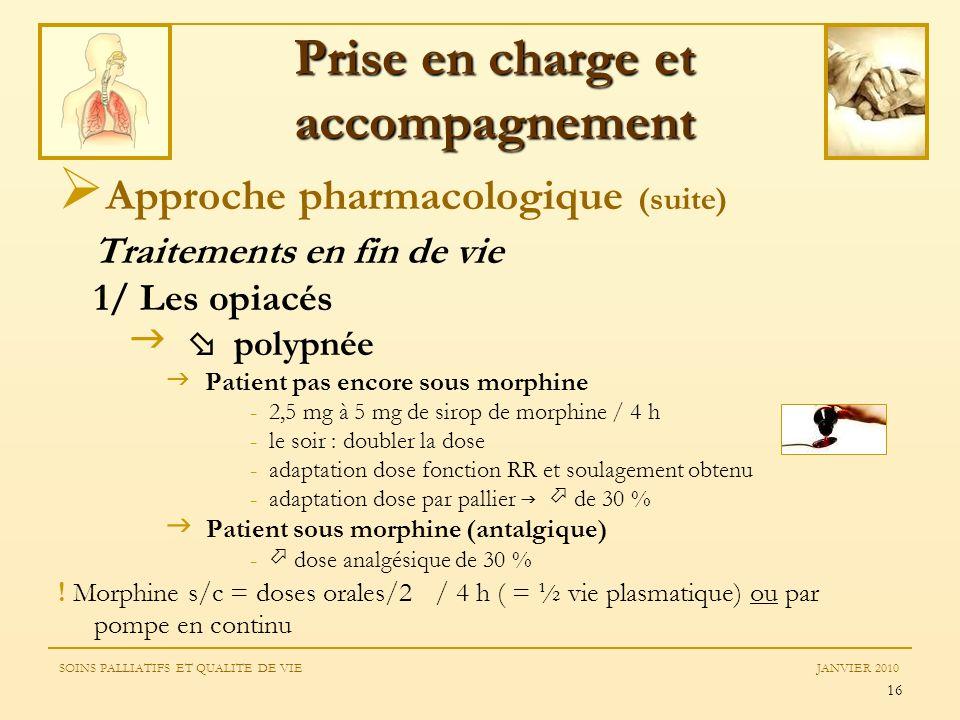 16 Approche pharmacologique (suite) Traitements en fin de vie 1/ Les opiacés polypnée Patient pas encore sous morphine - 2,5 mg à 5 mg de sirop de mor