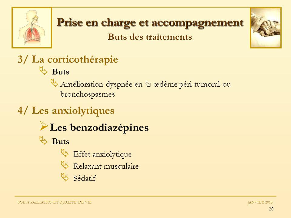 20 3/ La corticothérapie Buts Amélioration dyspnée en œdème péri-tumoral ou bronchospasmes 4/ Les anxiolytiques Les benzodiazépines Buts Effet anxioly