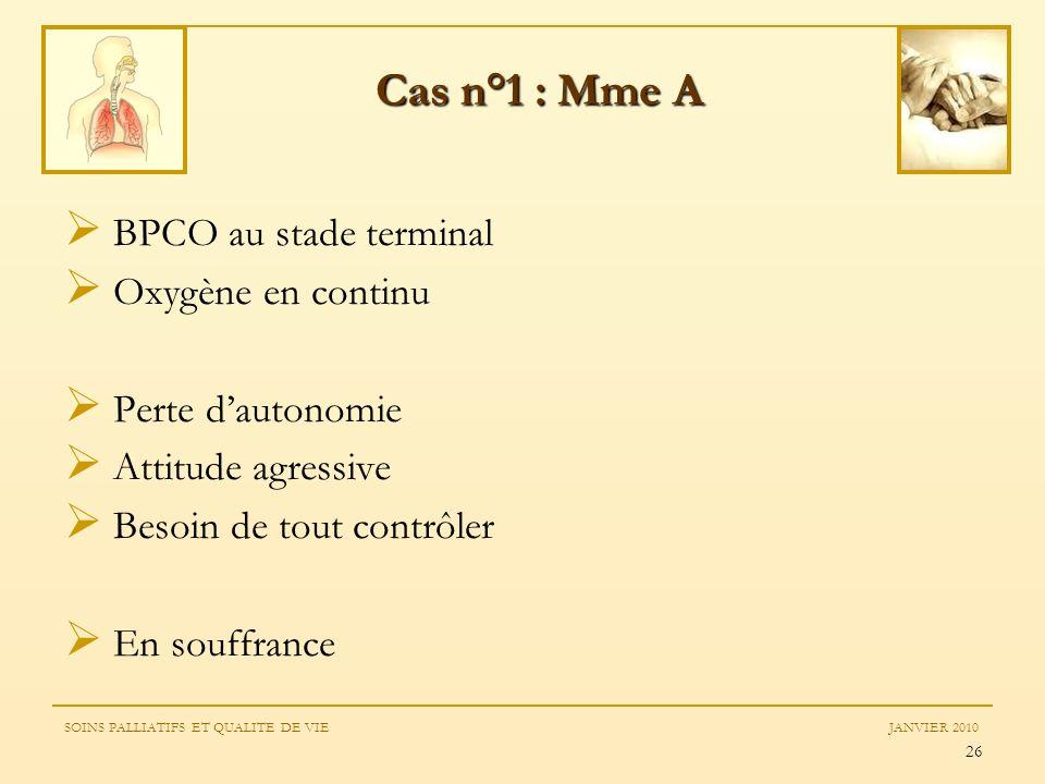 26 BPCO au stade terminal Oxygène en continu Perte dautonomie Attitude agressive Besoin de tout contrôler En souffrance Cas n°1 : Mme A SOINS PALLIATI