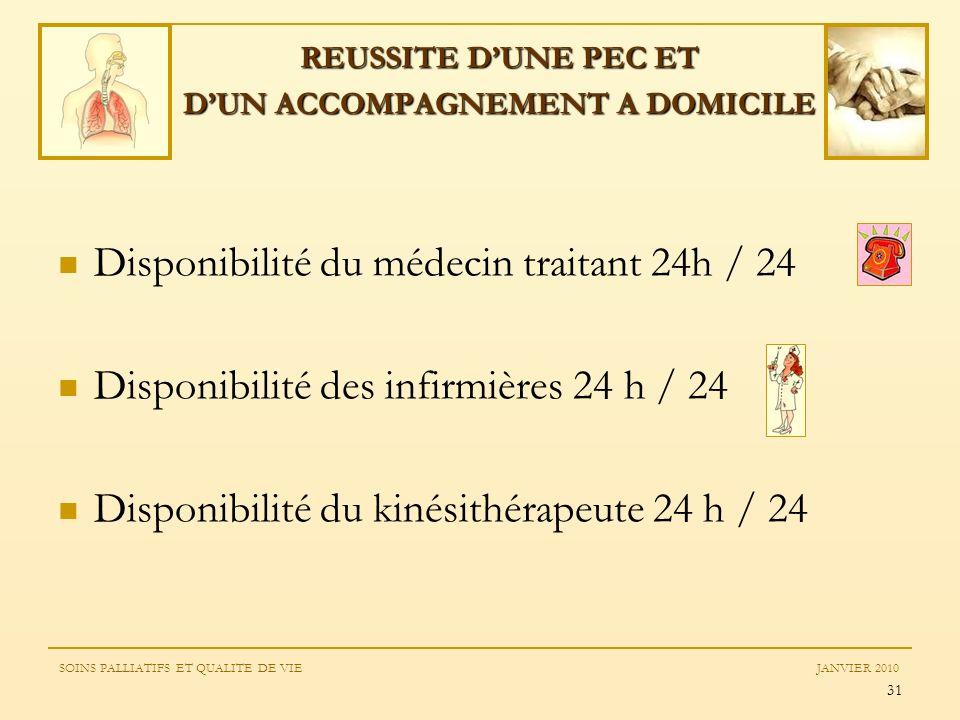 31 REUSSITE DUNE PEC ET DUN ACCOMPAGNEMENT A DOMICILE Disponibilité du médecin traitant 24h / 24 Disponibilité des infirmières 24 h / 24 Disponibilité