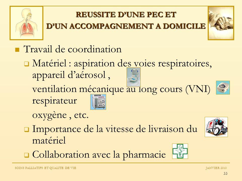 33 Travail de coordination Matériel : aspiration des voies respiratoires, appareil daérosol, ventilation mécanique au long cours (VNI) respirateur oxy