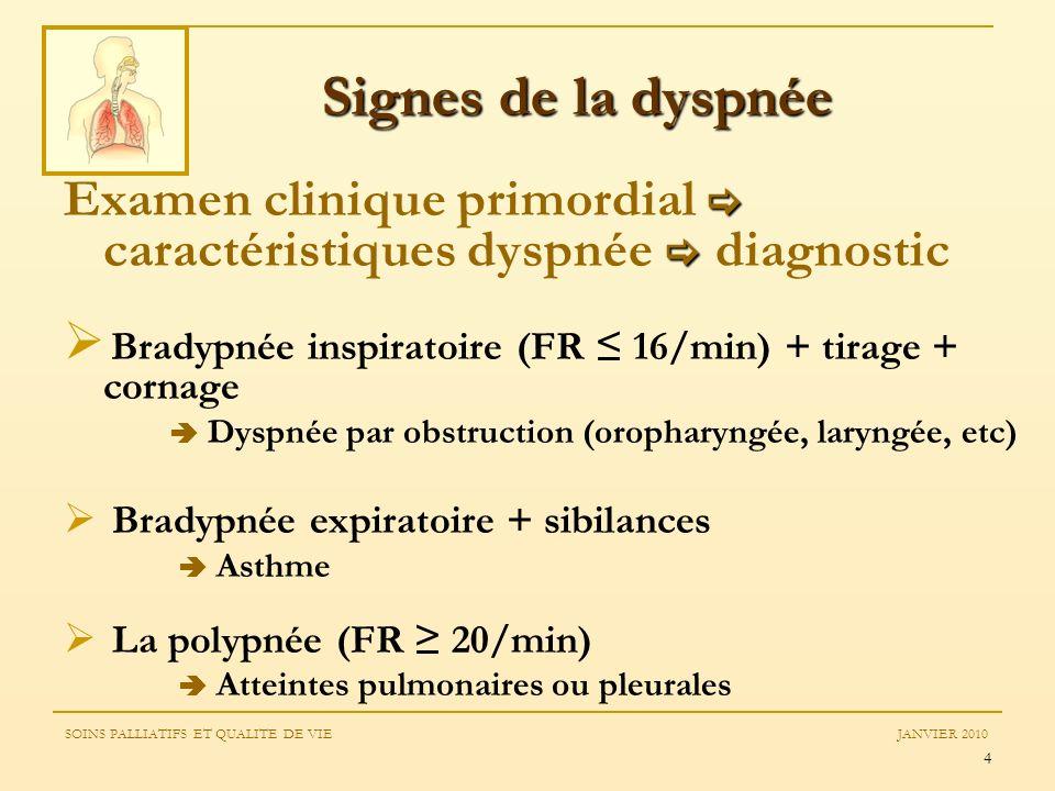 4 Examen clinique primordial caractéristiques dyspnée diagnostic Bradypnée inspiratoire (FR 16/min) + tirage + cornage Dyspnée par obstruction (oropha