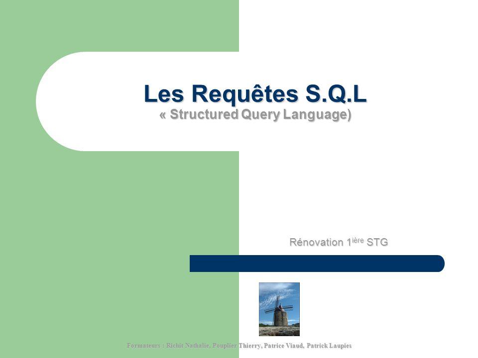 Les Requêtes S.Q.L « Structured Query Language) Rénovation 1 ière STG Formateurs : Richit Nathalie, Pouplier Thierry, Patrice Viaud, Patrick Laupies