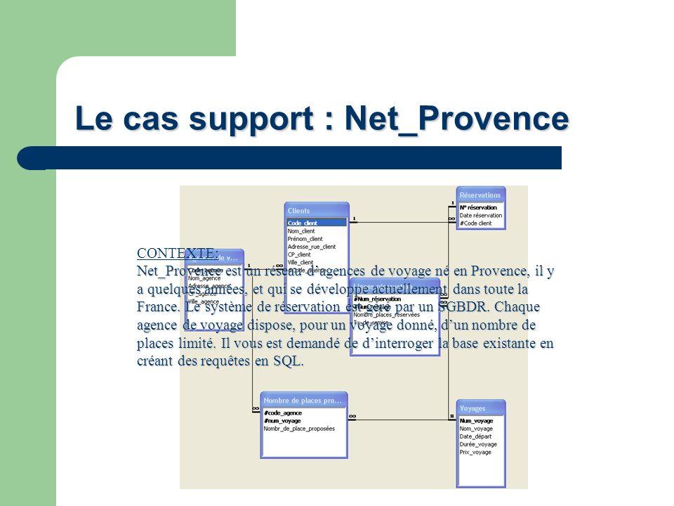 Le cas support : Net_Provence CONTEXTE: Net_Provence est un réseau dagences de voyage né en Provence, il y a quelques années, et qui se développe actu