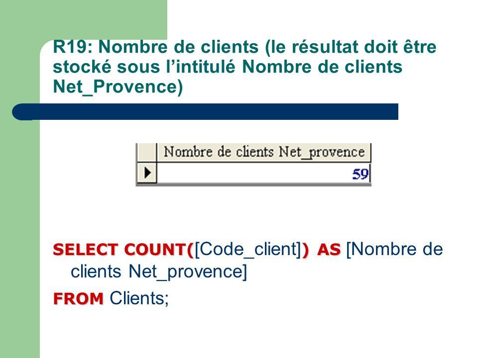 R19: Nombre de clients (le résultat doit être stocké sous lintitulé Nombre de clients Net_Provence) SELECT COUNT()AS SELECT COUNT( [Code_client] ) AS