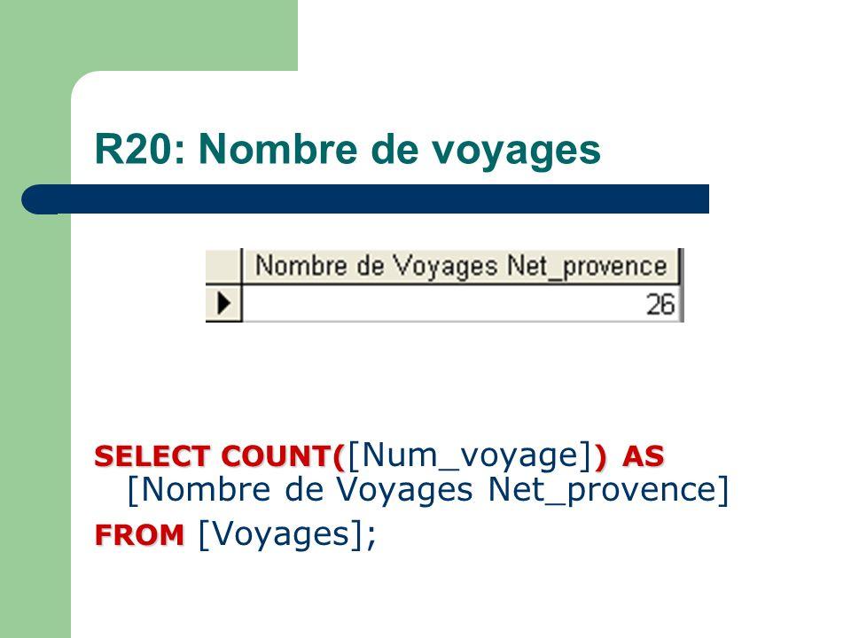 R20: Nombre de voyages SELECT COUNT()AS SELECT COUNT( [Num_voyage] ) AS [Nombre de Voyages Net_provence] FROM FROM [Voyages];