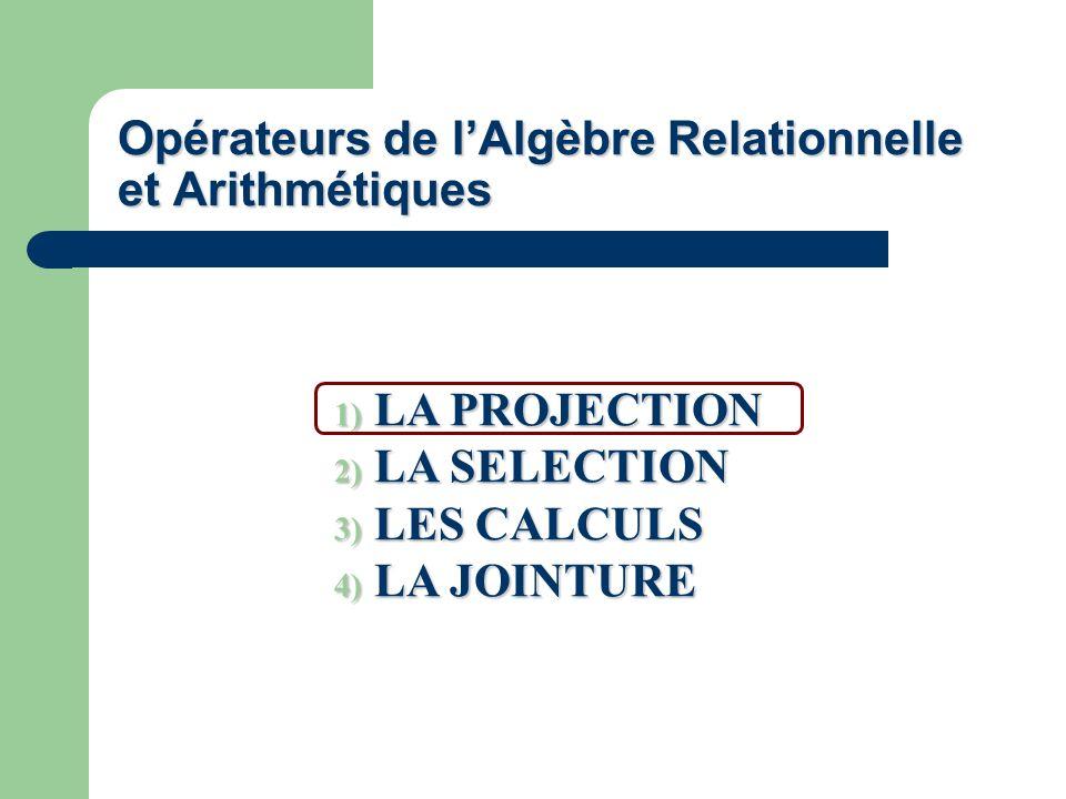 Opérateurs de lAlgèbre Relationnelle et Arithmétiques 1) LA PROJECTION 2) LA SELECTION 3) LES CALCULS 4) LA JOINTURE