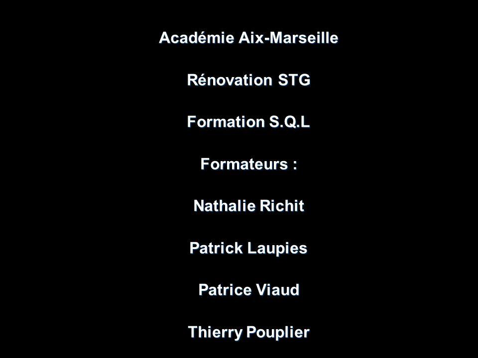 Académie Aix-Marseille Rénovation STG Formation S.Q.L Formateurs : Nathalie Richit Patrick Laupies Patrice Viaud Thierry Pouplier