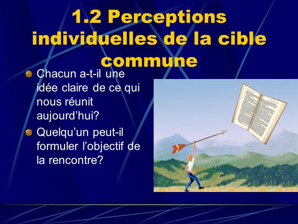 1.2 Perceptions individuelles de la cible commune Chacun a-t-il une idée claire de ce qui nous réunit aujourdhui? Quelquun peut-il formuler lobjectif