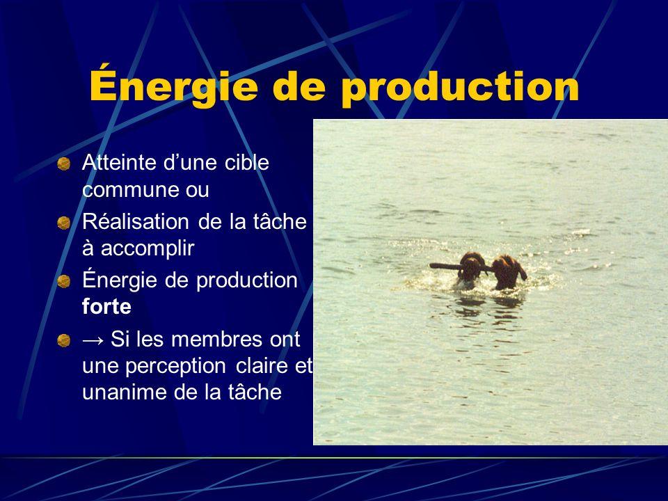 Énergie de production Atteinte dune cible commune ou Réalisation de la tâche à accomplir Énergie de production forte Si les membres ont une perception