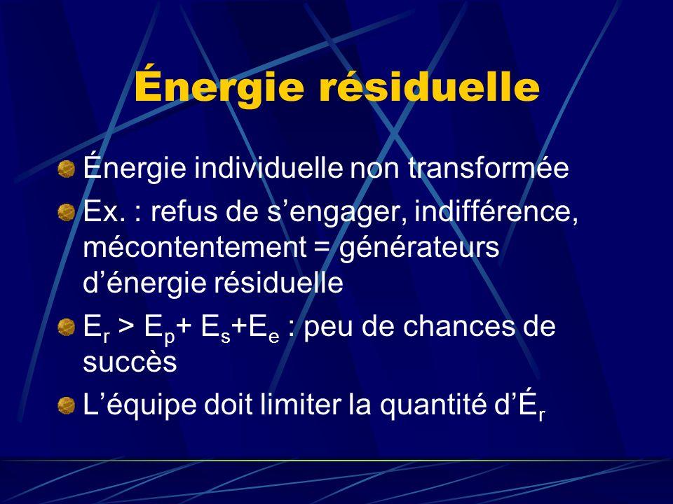 Énergie résiduelle Énergie individuelle non transformée Ex. : refus de sengager, indifférence, mécontentement = générateurs dénergie résiduelle E r >