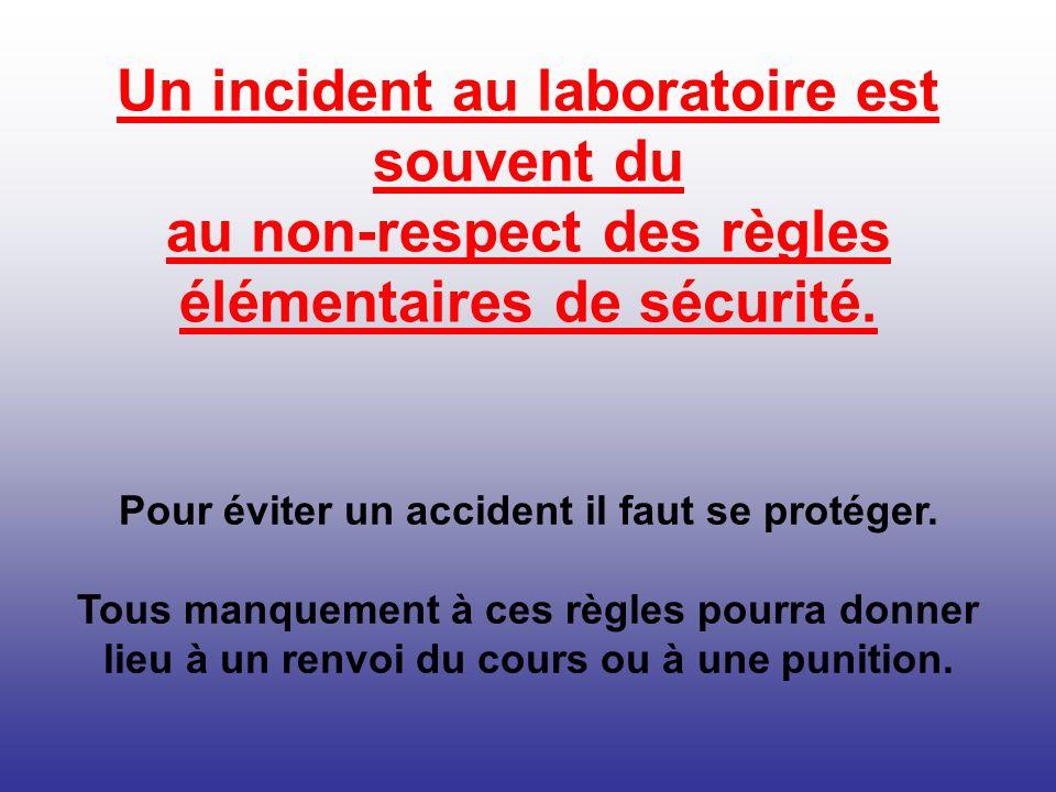 Pour éviter un accident il faut se protéger. Tous manquement à ces règles pourra donner lieu à un renvoi du cours ou à une punition. Un incident au la