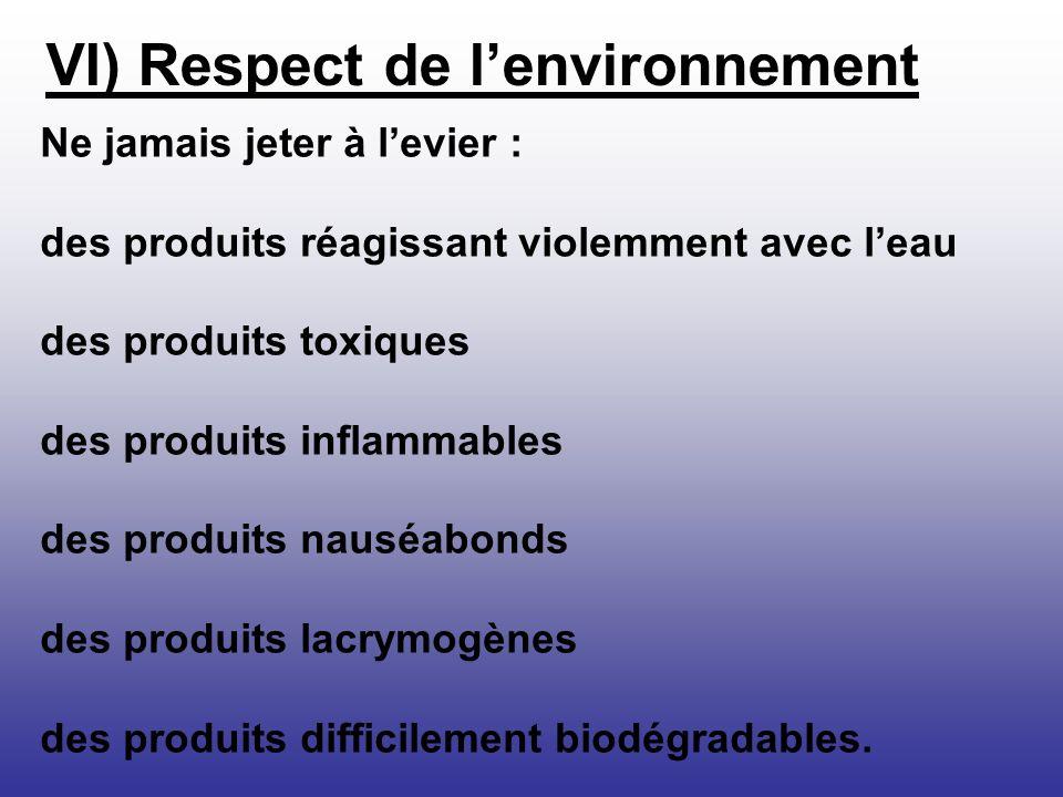 Ne jamais jeter à levier : des produits réagissant violemment avec leau des produits toxiques des produits inflammables des produits nauséabonds des p