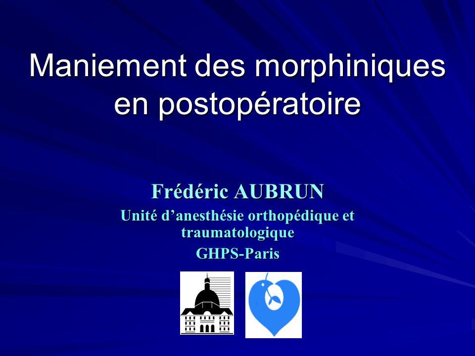 Maniement des morphiniques en postopératoire Frédéric AUBRUN Unité danesthésie orthopédique et traumatologique GHPS-Paris