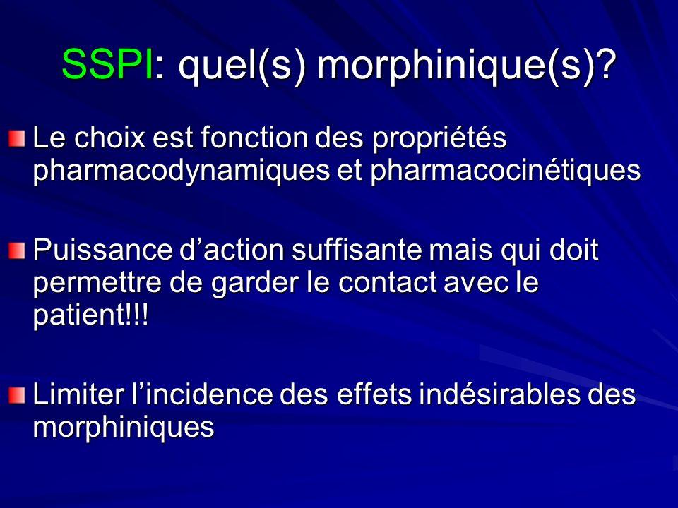 SSPI: quel(s) morphinique(s)? Le choix est fonction des propriétés pharmacodynamiques et pharmacocinétiques Puissance daction suffisante mais qui doit