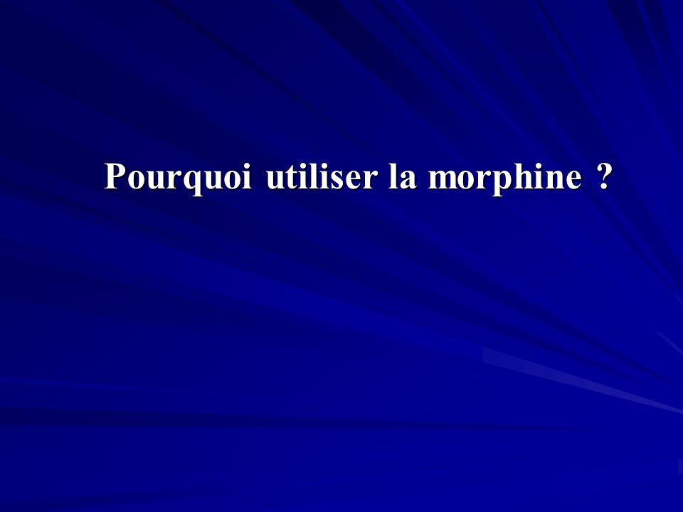 Pourquoi utiliser la morphine ? Pourquoi utiliser la morphine ?
