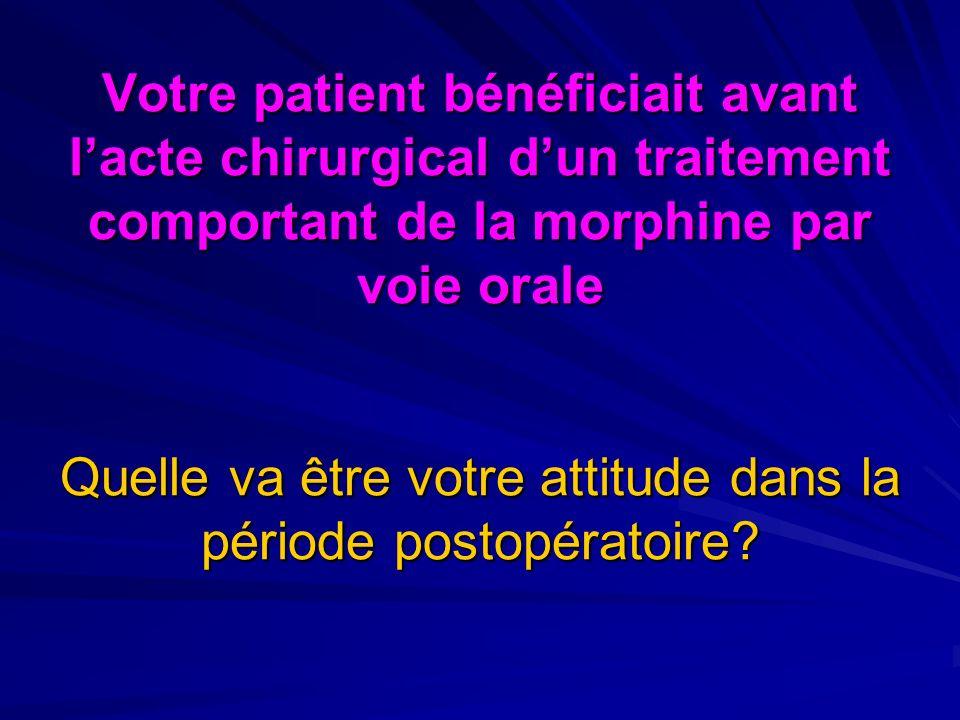 Votre patient bénéficiait avant lacte chirurgical dun traitement comportant de la morphine par voie orale Quelle va être votre attitude dans la période postopératoire?