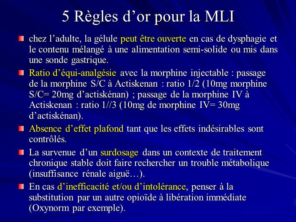 5 Règles dor pour la MLI chez ladulte, la gélule peut être ouverte en cas de dysphagie et le contenu mélangé à une alimentation semi-solide ou mis dans une sonde gastrique.