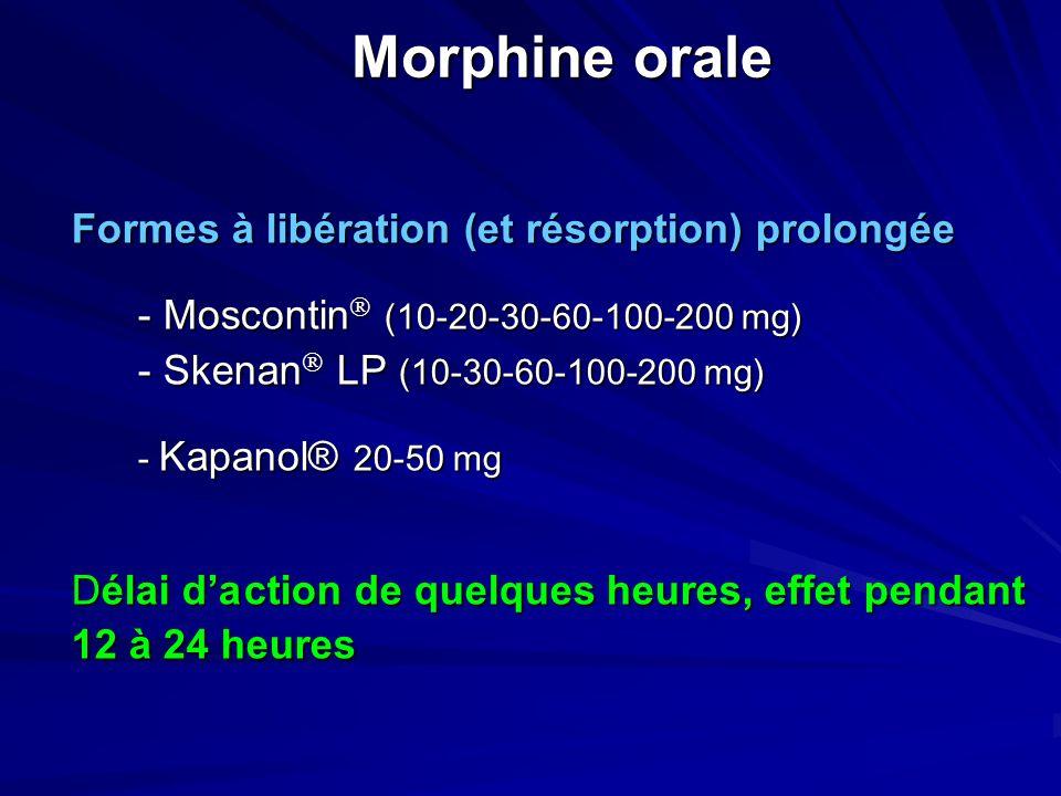 Morphine orale Formes à libération (et résorption) prolongée - Moscontin (10-20-30-60-100-200 mg) - Skenan LP (10-30-60-100-200 mg) - Kapanol® 20-50 mg Délai daction de quelques heures, effet pendant 12 à 24 heures