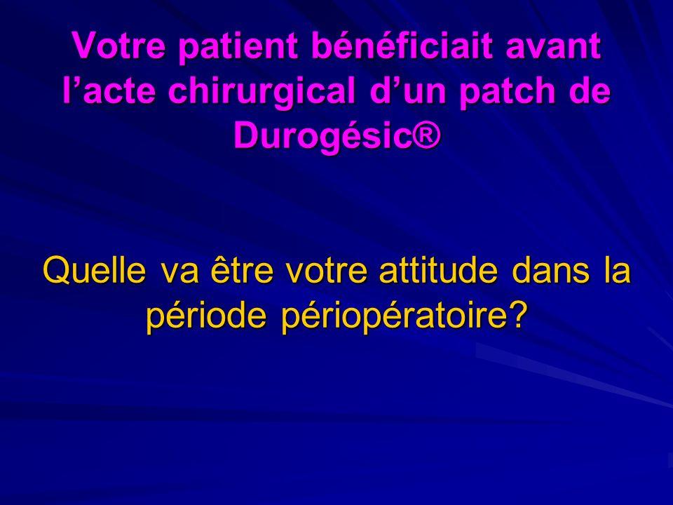 Votre patient bénéficiait avant lacte chirurgical dun patch de Durogésic® Quelle va être votre attitude dans la période périopératoire?