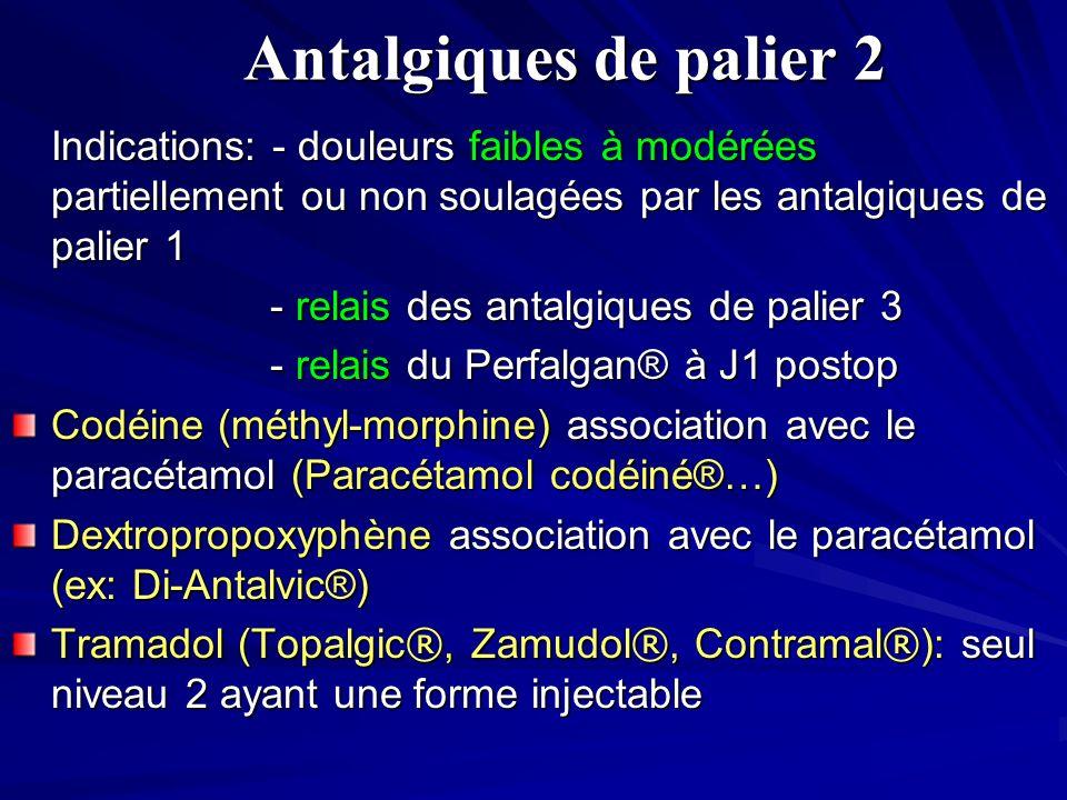 Antalgiques de palier 2 Indications: - douleurs faibles à modérées partiellement ou non soulagées par les antalgiques de palier 1 - relais des antalgiques de palier 3 - relais des antalgiques de palier 3 - relais du Perfalgan® à J1 postop - relais du Perfalgan® à J1 postop Codéine (méthyl-morphine) association avec le paracétamol (Paracétamol codéiné®…) Dextropropoxyphène association avec le paracétamol (ex: Di-Antalvic®) Tramadol (Topalgic ®, Zamudol ®, Contramal ® ): seul niveau 2 ayant une forme injectable
