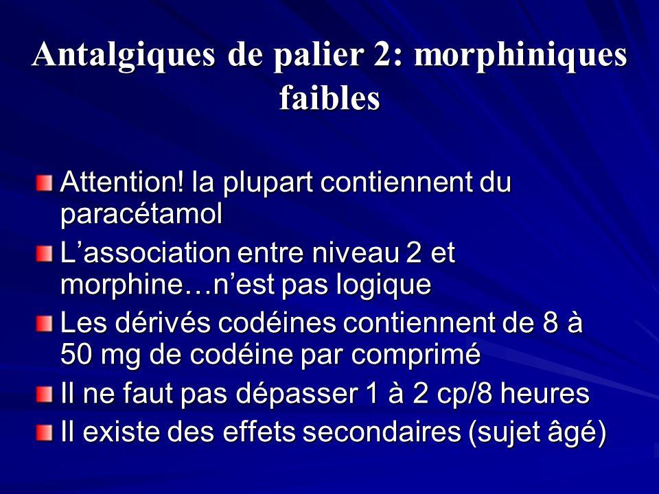 Antalgiques de palier 2: morphiniques faibles Attention! la plupart contiennent du paracétamol Lassociation entre niveau 2 et morphine…nest pas logiqu
