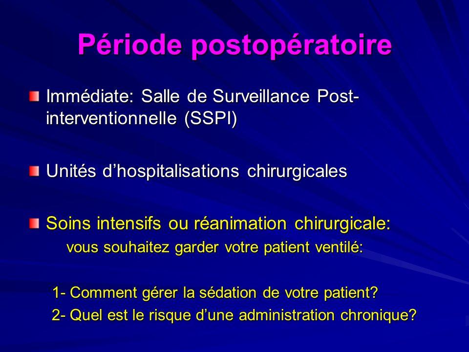 Période postopératoire Immédiate: Salle de Surveillance Post- interventionnelle (SSPI) Unités dhospitalisations chirurgicales Soins intensifs ou réani