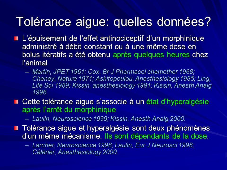 Tolérance aigue: quelles données? Lépuisement de leffet antinociceptif dun morphinique administré à débit constant ou à une même dose en bolus itérati