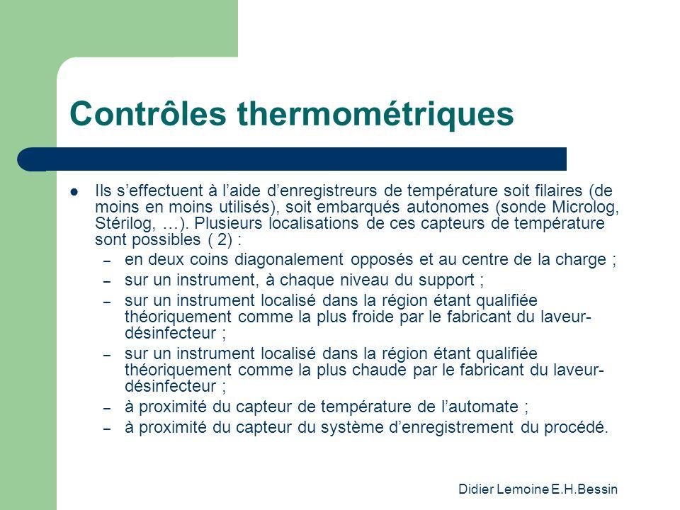 Didier Lemoine E.H.Bessin Contrôles thermométriques Ils seffectuent à laide denregistreurs de température soit filaires (de moins en moins utilisés), soit embarqués autonomes (sonde Microlog, Stérilog, …).