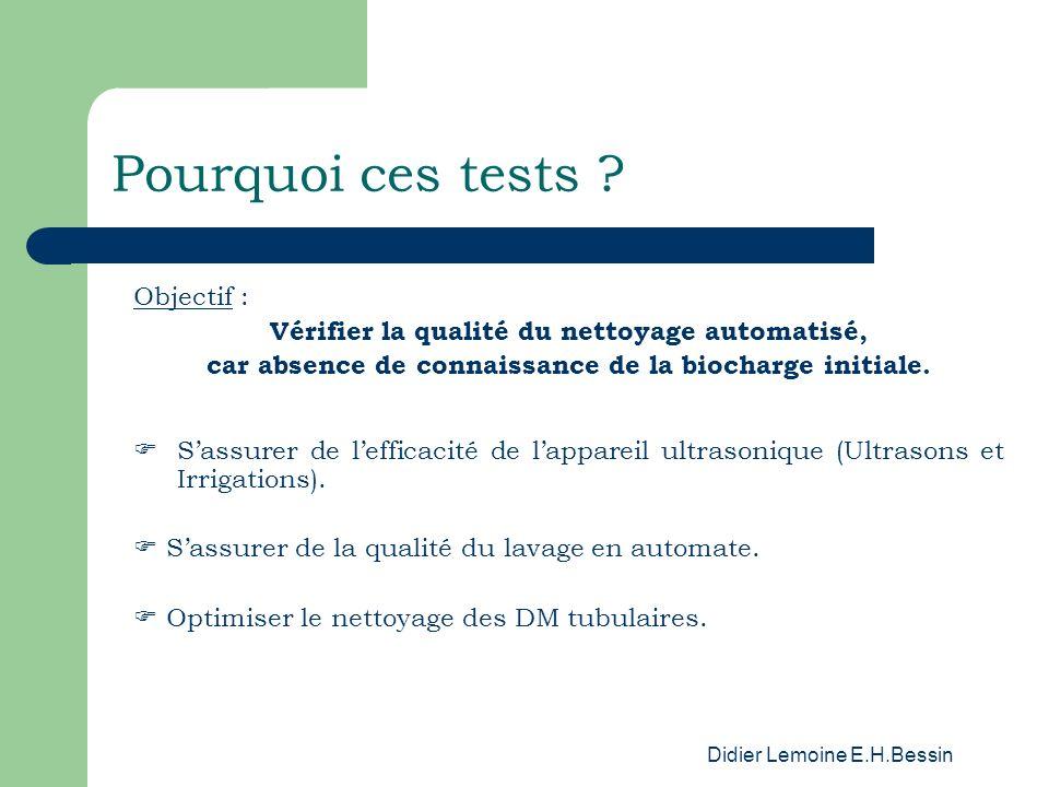 Didier Lemoine E.H.Bessin Pourquoi ces tests ? Objectif : Vérifier la qualité du nettoyage automatisé, car absence de connaissance de la biocharge ini