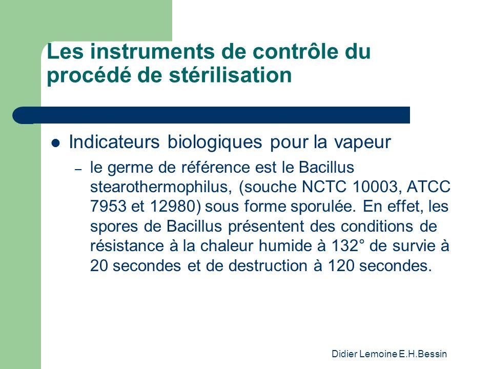 Didier Lemoine E.H.Bessin Les instruments de contrôle du procédé de stérilisation Indicateurs biologiques pour la vapeur – le germe de référence est le Bacillus stearothermophilus, (souche NCTC 10003, ATCC 7953 et 12980) sous forme sporulée.