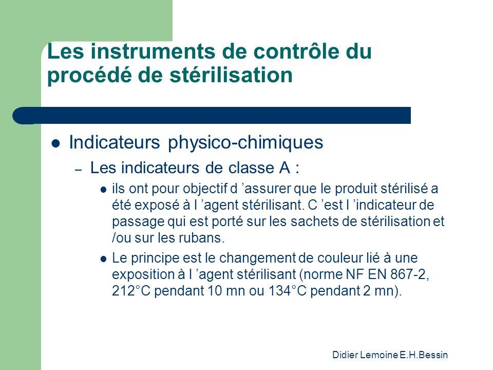 Didier Lemoine E.H.Bessin Les instruments de contrôle du procédé de stérilisation Indicateurs physico-chimiques – Les indicateurs de classe A : ils on