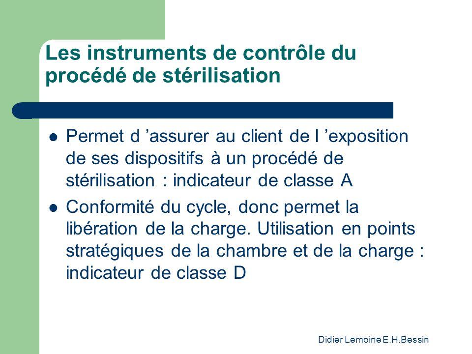 Didier Lemoine E.H.Bessin Les instruments de contrôle du procédé de stérilisation Permet d assurer au client de l exposition de ses dispositifs à un procédé de stérilisation : indicateur de classe A Conformité du cycle, donc permet la libération de la charge.