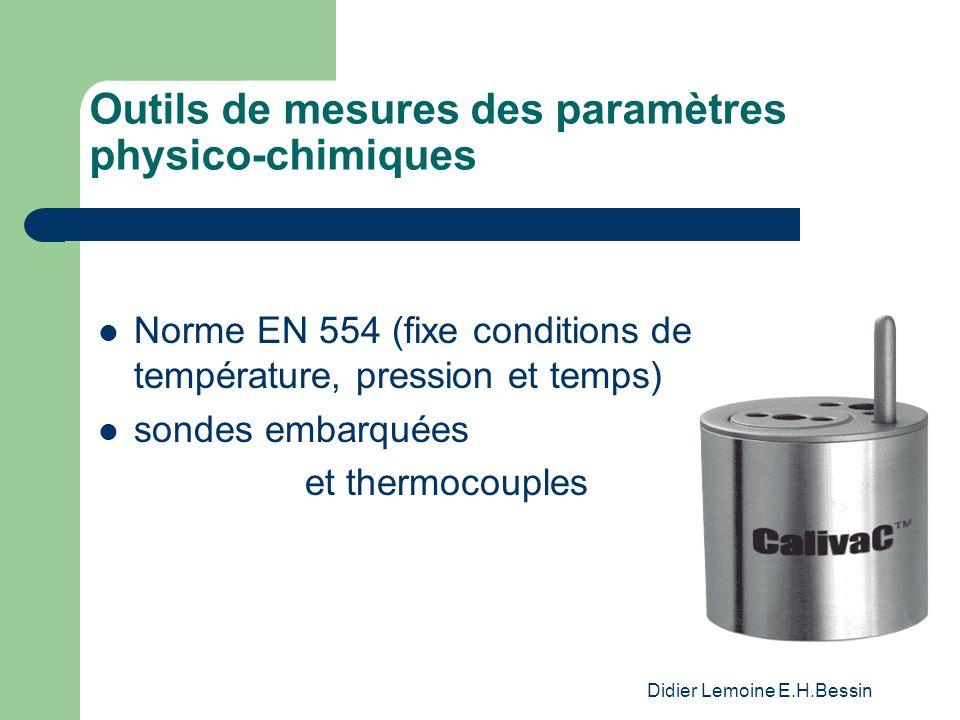 Didier Lemoine E.H.Bessin Outils de mesures des paramètres physico-chimiques Norme EN 554 (fixe conditions de température, pression et temps) sondes embarquées et thermocouples