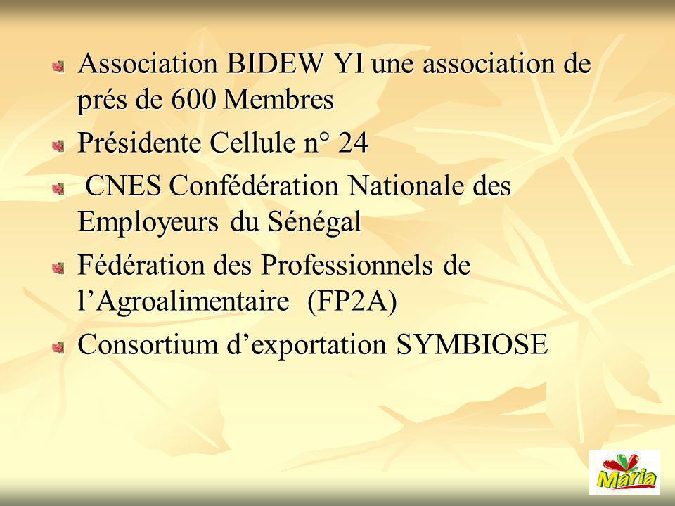 Association BIDEW YI une association de prés de 600 Membres Présidente Cellule n° 24 CNES Confédération Nationale des Employeurs du Sénégal CNES Confédération Nationale des Employeurs du Sénégal Fédération des Professionnels de lAgroalimentaire (FP2A) Consortium dexportation SYMBIOSE