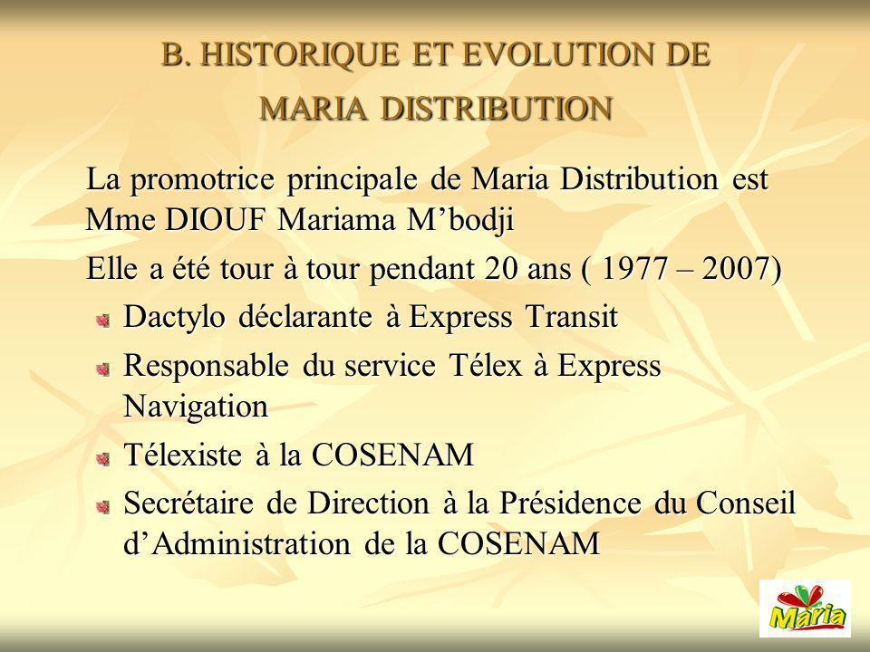 B. HISTORIQUE ET EVOLUTION DE MARIA DISTRIBUTION La promotrice principale de Maria Distribution est Mme DIOUF Mariama Mbodji La promotrice principale