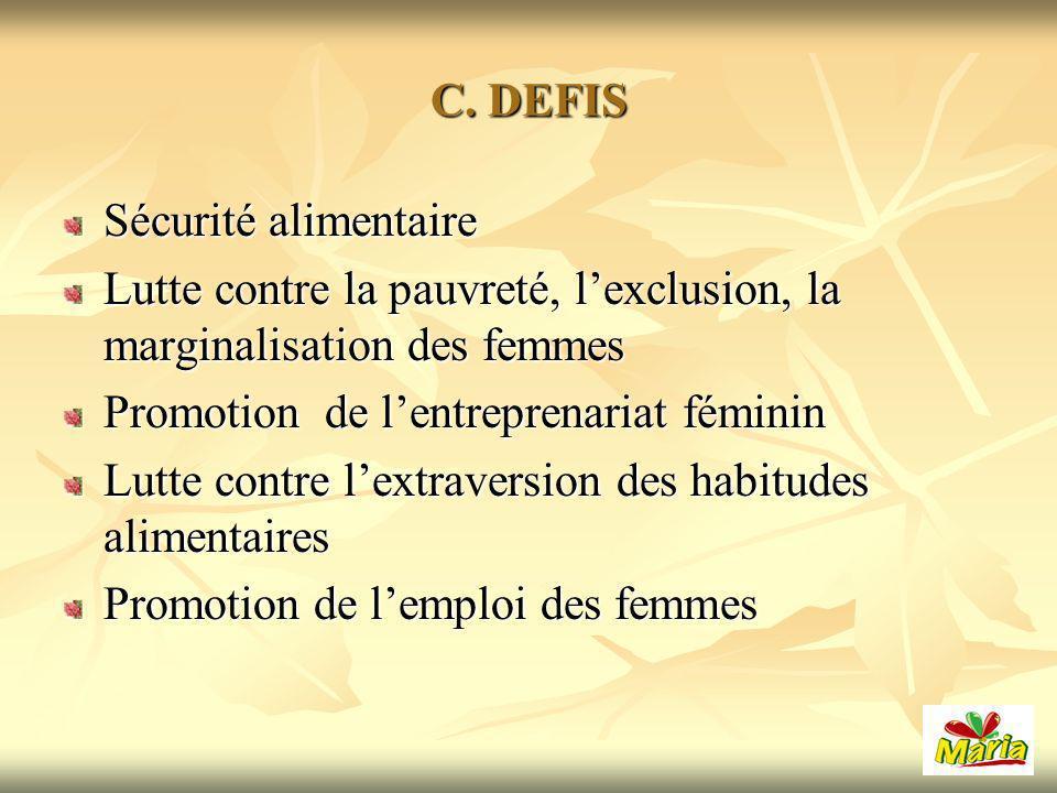 C. DEFIS Sécurité alimentaire Lutte contre la pauvreté, lexclusion, la marginalisation des femmes Promotion de lentreprenariat féminin Lutte contre le