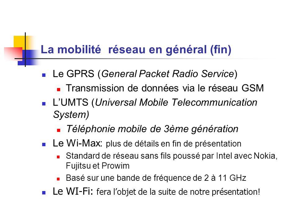 La mobilité réseau en général (fin) Le GPRS (General Packet Radio Service) Transmission de données via le réseau GSM LUMTS (Universal Mobile Telecommu