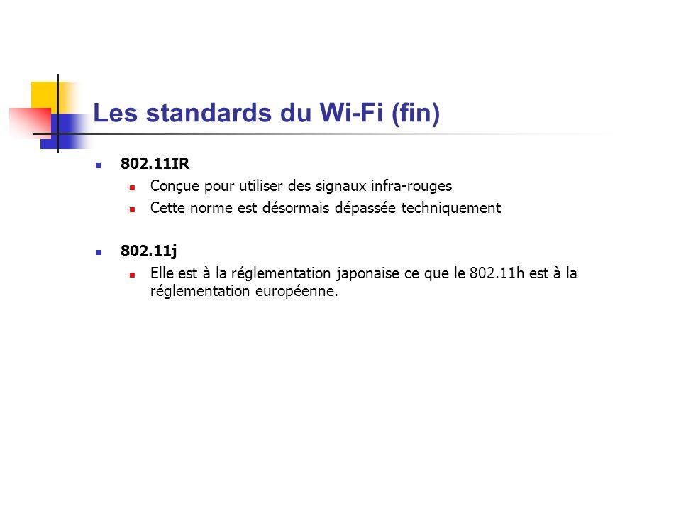 Les standards du Wi-Fi (fin) 802.11IR Conçue pour utiliser des signaux infra-rouges Cette norme est désormais dépassée techniquement 802.11j Elle est