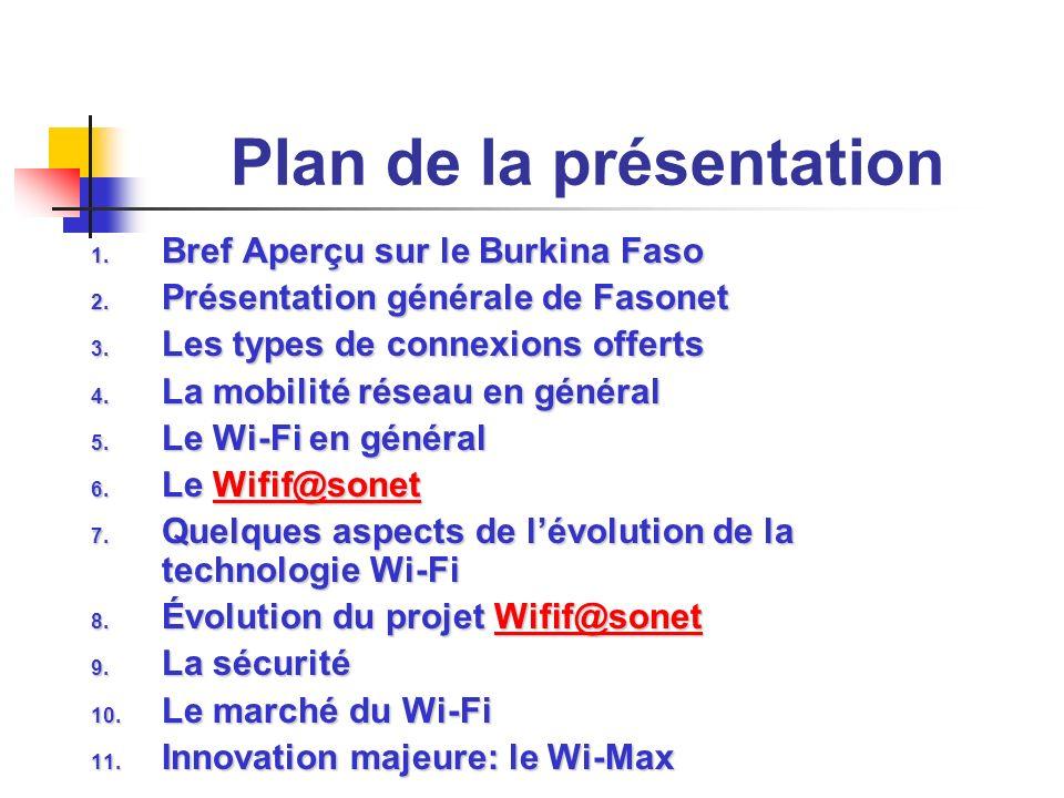 Plan de la présentation 1. Bref Aperçu sur le Burkina Faso 2. Présentation générale de Fasonet 3. Les types de connexions offerts 4. La mobilité résea